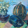 Striped pumpkins.70�50 cm, cardboard, oil.